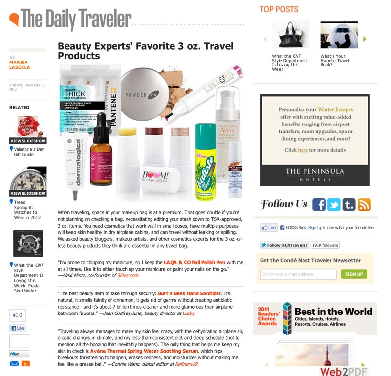 Beauty Experts' Favorite 3 oz. Travel Beauty Products : Daily Traveler : Conde Nast Traveler